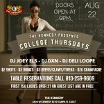 COLLEGE THURS AUG 22